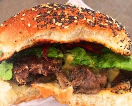 Braised Beef and Welsh Rarebit Burger