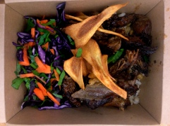 Guinness-Braised Beef, Lemon Pearl Barley and Winter Salads and Spiced Parsnip Crisps